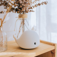 Cartoon Cute whale Night Light USB Rechargeable LED Light Multicolor Silicone Touch Sensor Night lamp Bedroom Gift Decor lamp