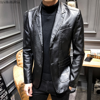 AreMoMuWha 2019 New Lapel Leather Suit Middle-aged Men's Business Casual Handsome Male Leather Jacket Men's Leather Jacket QX771