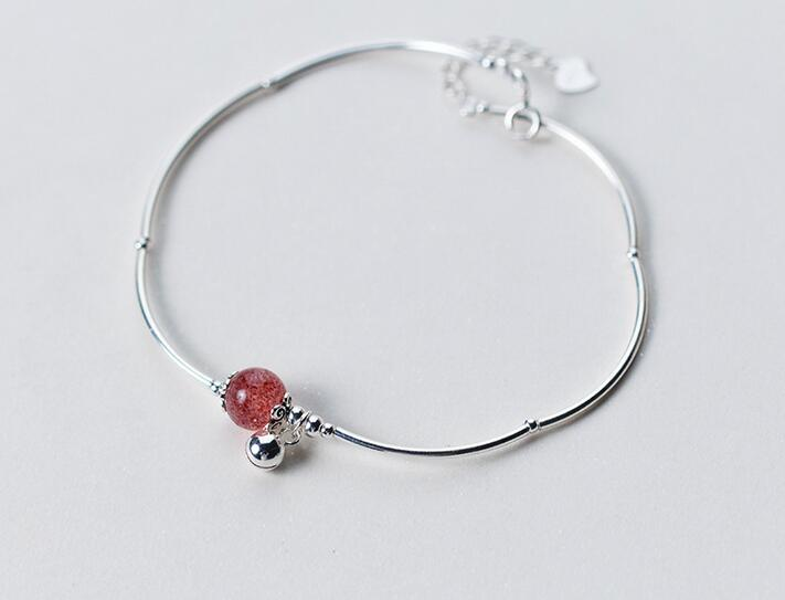925 Sterling Silver Jewelry Chime Bell &8mm Natural Stone Strawberry Quartz Bangle Anklet Bracelet Cuff Gtls417 Fine Jewelry Lower Price with 100% Real