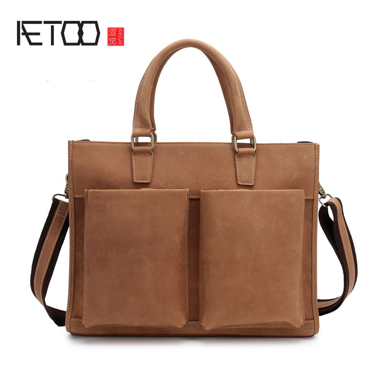 AETOO The first layer of leather men's bag retro crazy horse leather men's handbag cross section business briefcase computer bag aetoo new first layer of leather men s shoulder bag leather male package cross section oblique cross bag japanese and korean ver