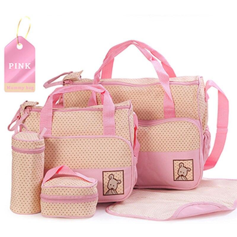 Hi-Q waterproof 5PCS/Set Nylon baby diaper bags Multi-function large capacity Mummy bag aslant backpack diaper bags 8 Colors