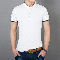 2018 New Arrival Light Business Series Men's Slim Trend Collar Casual Solid Short Sleeve Joker T - Shirt Free Shipping Hot Sale