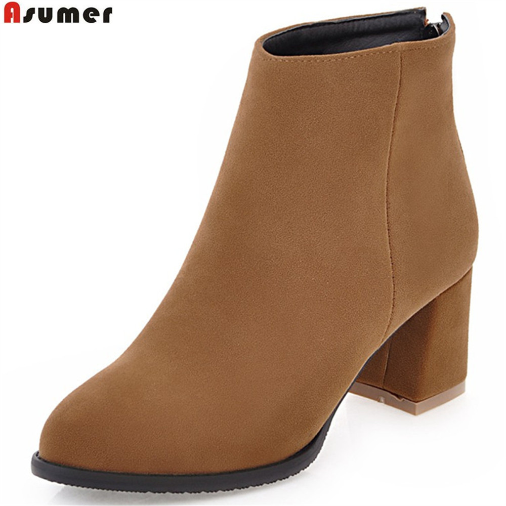 ASUMER fashion women boots flock black beige gray autumn winter ladies boots zipper square heel ankle boots big size 34-45 asumer fashion women boots pointed toe zipper flock autumn winter ladies boots black beige gray ankle boots big size 34 44