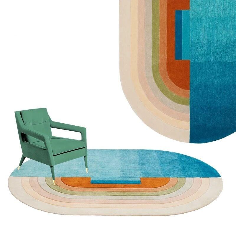 Tapis acrylique ovale arc-en-ciel rond pour salon tapis de chambre d'enfants pour Option tapis tapis de cuisine et tapis de prière