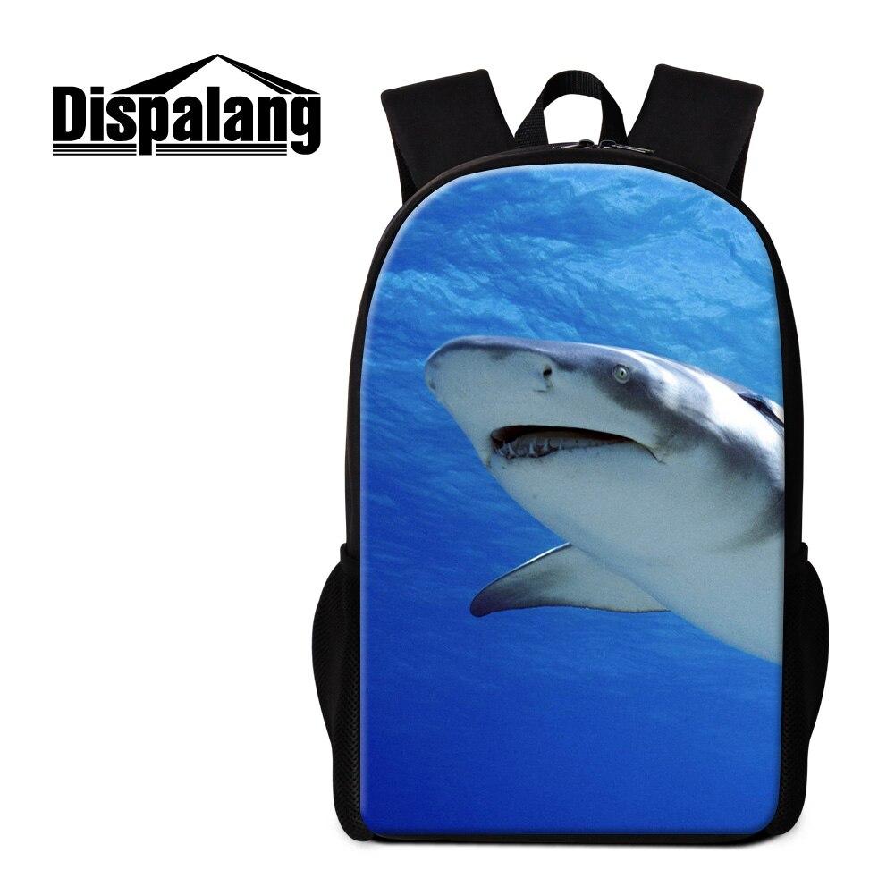 Dispalang высокого качества школьный рюкзак для подростков Женские винтажные Bagpack крутая Детская животных акула Печать Рюкзак