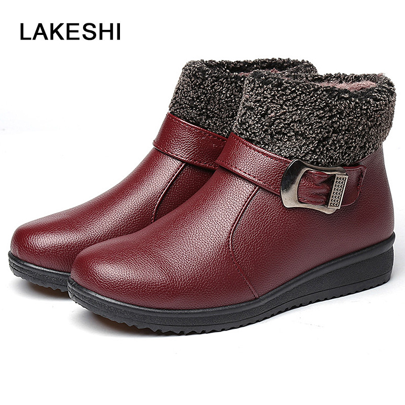 Buckle Strap Snow Boots Winter Women Shoes Ankle Boots Female Fashion New Keep Warm Black Boots Woman fashion keep warm winter women boots snow boots 2017 buckle cotton boots women boots shoes