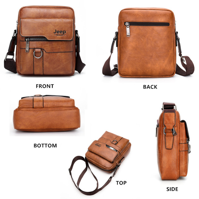 JEEP BULUO Luxury Brand Men Messenger Bags Crossbody Business Casual Handbag Male Spliter Leather Shoulder Bag Large Capacity 2