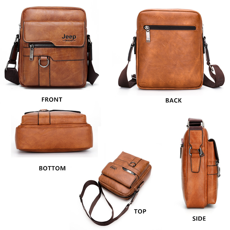 Image 3 - JEEP BULUO, роскошные Брендовые мужские сумки мессенджеры, через плечо, деловые повседневные сумки, мужская кожаная сумка на плечо, большая ВМЕСТИТЕЛЬНОСТЬ