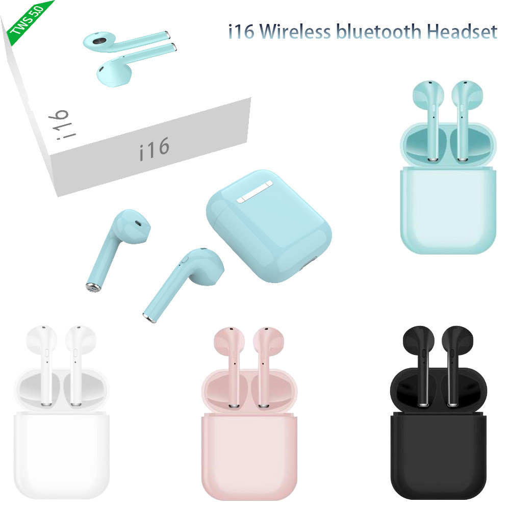 i16 <font><b>TWS</b></font> Wireless <font><b>Earphone</b></font> Bluetooth 5.0 1:1 Ai Mini Wireless Bluetooth 3D bass Ear Buds PK i10 i12 i13 i14 i15 <font><b>i18</b></font> <font><b>tws</b></font> image