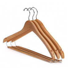 10 pcs special arched shape design wood suits hanger with trouser bar business suit coats hanger for hotel