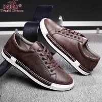 NAUSK Men Breathable Sneakers Leather Shoes Men Vulcanize Shoes Outdoor High Quality Footwear Size