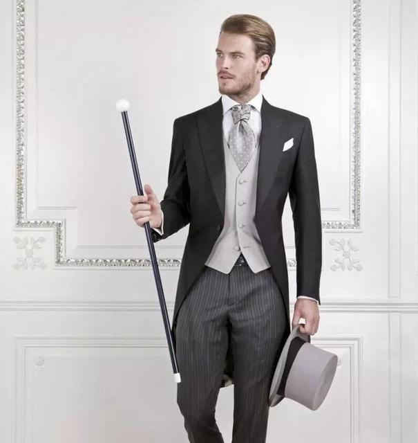New Long Jacket Black Tailed Coat Suit Men Slim Fit Italian Men Suit For Wedding Custom 3Pieces Best Men Stripe Suit Large Dress