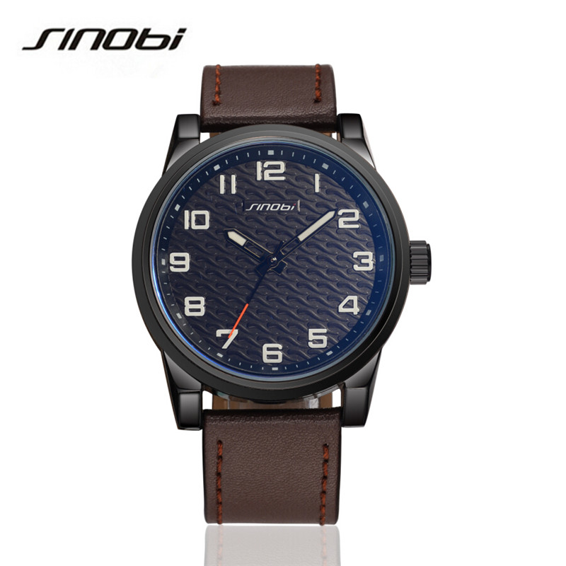 SINOBI Fashion Quartz Wrist Watches Men Luxury Brand Leather Strap Wristwatch Casual Watch Relogio Male Reloj Clock Men AA116 sinobi double quartz wristwatch for leather watchband men s golden fashion wrist watch brand males clock relojes hombre 2016 new