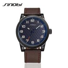 SINOBI Fashion Quartz Wrist Watches Men Luxury Brand Leather Strap Wristwatch Casual Watch Relogio Male Reloj Clock Men AA116