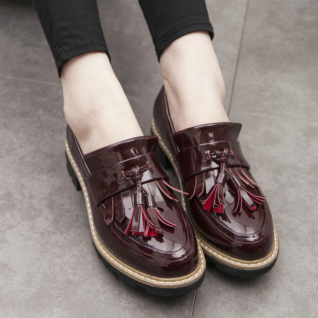 a534dd5d24a1 Teahoo Oxford Shoes for Women Tassels Slip on Women Shoes Patent Leather  Ladies Oxfords Loafers Shoes