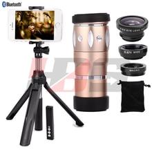 On sale Fisheye Wide Angle Macro Lentes 10X Zoom Telephoto Optical Zoom Telescope Lens Monopod Tripod Holder Shutter For iphone 5 6s 7