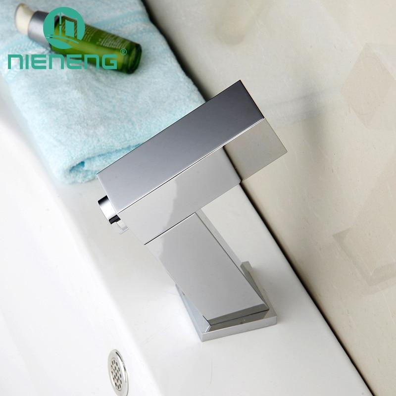 Nieneng Touch Бесплатная автоматический датчик смесители LED кран для раковины ванной комнаты Туалет холодной воды бассейна torneiras латунь краны