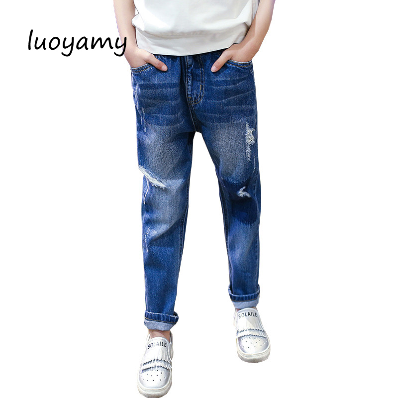 luoyamy 2017 Girls Hole Jeans Baby Long Pants Children Clothes Infantil Casual Trousers Kids Fashion Korean Pants brand 2015 cotton denim ripped jeans pants men skinny jeans vintage hole patchwork printed jeans trousers plus size l109