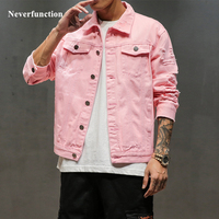 New Plus Size 5XL Pink black Ripped Denim jeans Jackets Hip Hop Streetwear Holes Casual Fashion Men Women Distressed Solid Coat