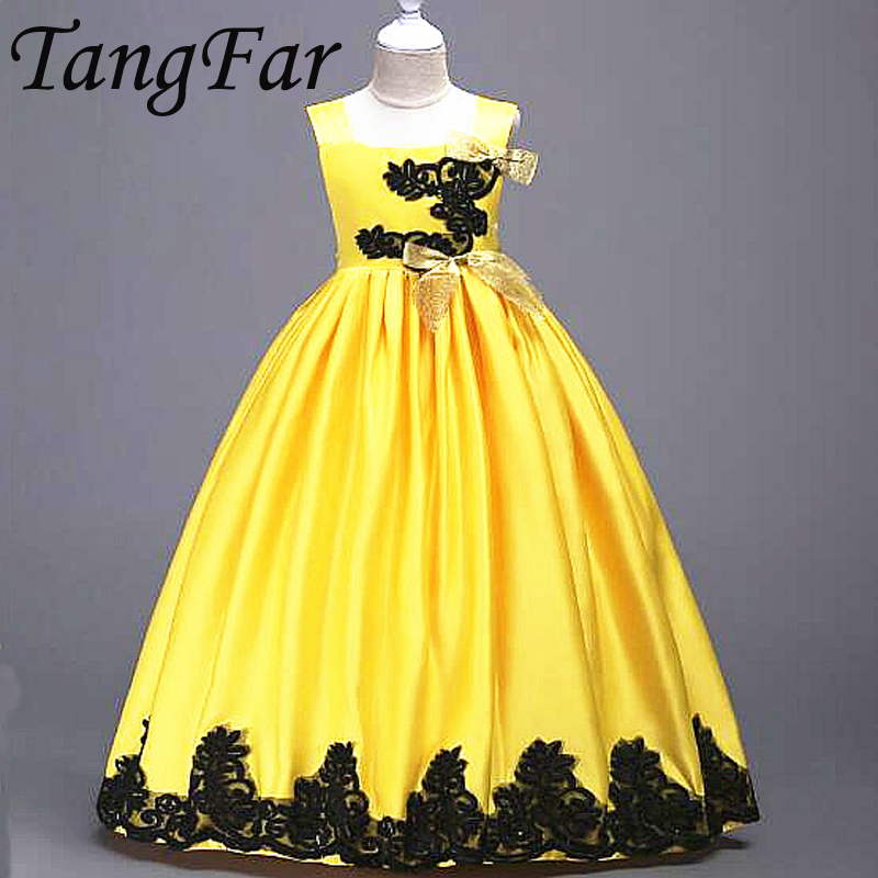 Children Formal Dress Ball Gown Girls Wedding Party Presided Princess Dresses New Girl harness Floral dress Ankle Clothing 95