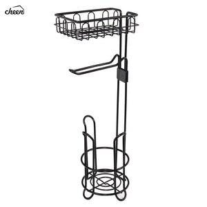 Image 1 - 독립 구조로 서있는 금속 와이어 화장지 롤 홀더 핸드폰 욕실 스토리지 조직에 대한 스토리지 선반과 스탠드 및 디스펜서