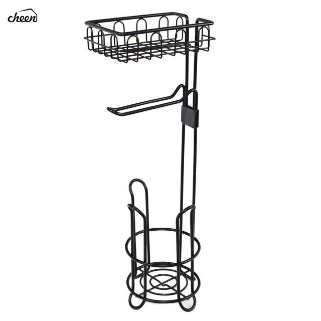 독립 구조로 서있는 금속 와이어 화장지 롤 홀더 핸드폰 욕실 스토리지 조직에 대한 스토리지 선반과 스탠드 및 디스펜서