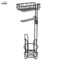 Freestanding Metal Wire Toilet Paper Roll Holder Stand &Dispenser with Storage Shelf for CellPhone Bathroom Storage Organization