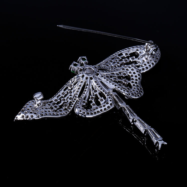Nature Vintage Opens Green Eyes Flying Dragonfly Brooches Full Pave & - Fashion Jewelry - Photo 4