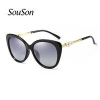 2017 Souson Brand women Sunglasses Polarized Fashion Vintage Fashion Sunglass Pearl frame For Women With Box 4 colors