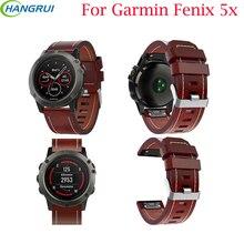 Fácil Ajuste do Relógio Cinta Para Garmin Fenix 5X/5X Plus Substituição Faixa de Relógio Pulseira de Couro Do Esporte Ao Ar Livre para Garmin fenix 5X
