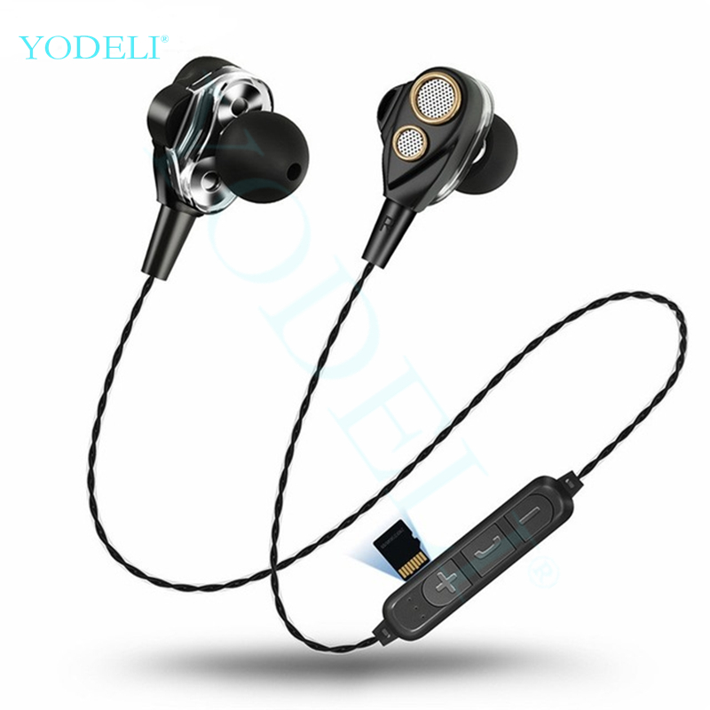 Bluetooth Earbuds Wireless Headphones Stereo Double Unit Driver Speaker Bluetooth Earphone Support TF/SD Card with Mic for Phone