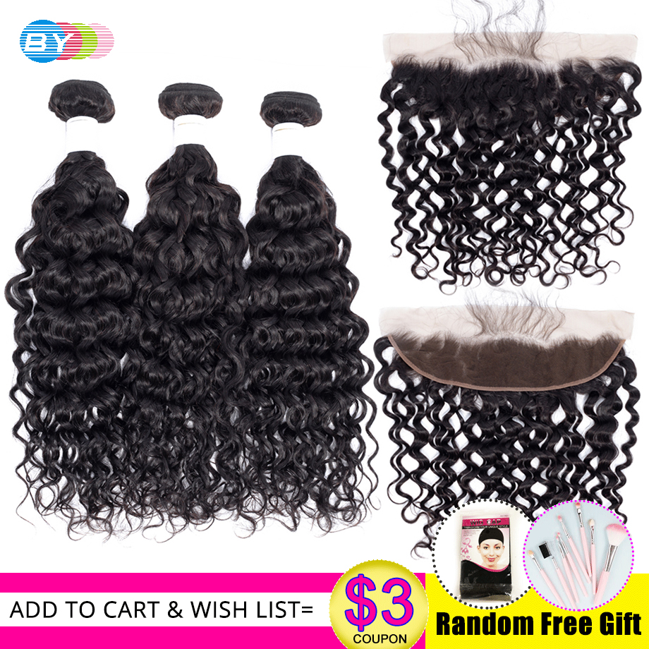 BY Water Wave Bundles With Frontal Closure Human Hair Bundles With Frontal Bresiliens Cheveux Humain 3