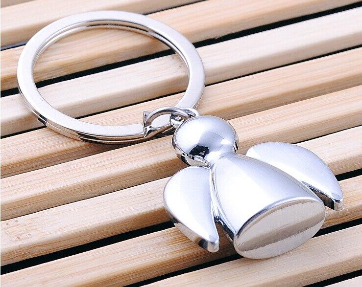200pcs/lot Lovely Angel Keychain Men Women Key Holder Chain Ring Car Chaveiros Llaveros Bag Pendant Charm Wedding Gifts