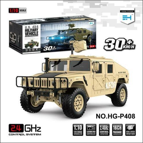 HG 1/10 RC 4*4 Hummer véhicule militaire jaune P408 voiture de course avec ESC moteur Radio lumière système sonore TH15073