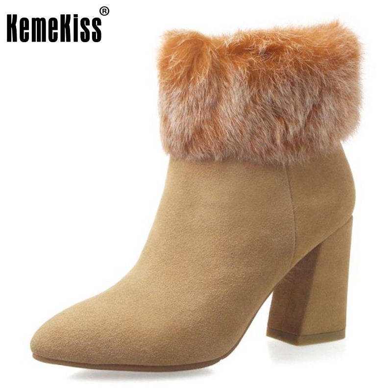 KemeKiss Women Genuine Leather High Heel Boots Warm Fur Shoes Cold Winter Boots Half Short Botas For Women Footwears Size 33-40 купить