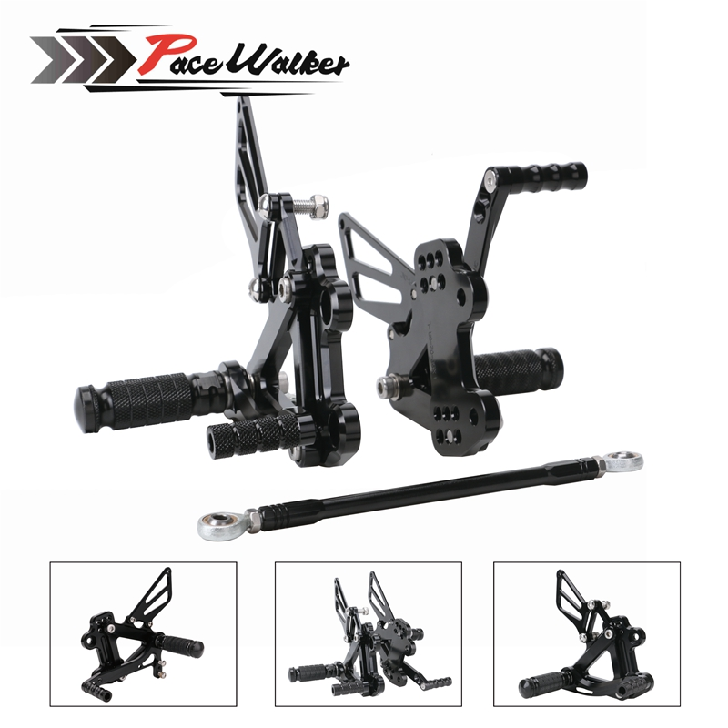 CNC Aluminum Motorcycle accessories Adjustable Rearset Rear Set Foot Pegs Pedal Footrest For KAWASAKI ZX6R ZX-6R 1999 2000-2002 for 11 16 kawasaki z1000 z 1000 cnc aluminum adjustable rear set foot pegs pedal footrest rearset 2011 2012 2013 2014 2016
