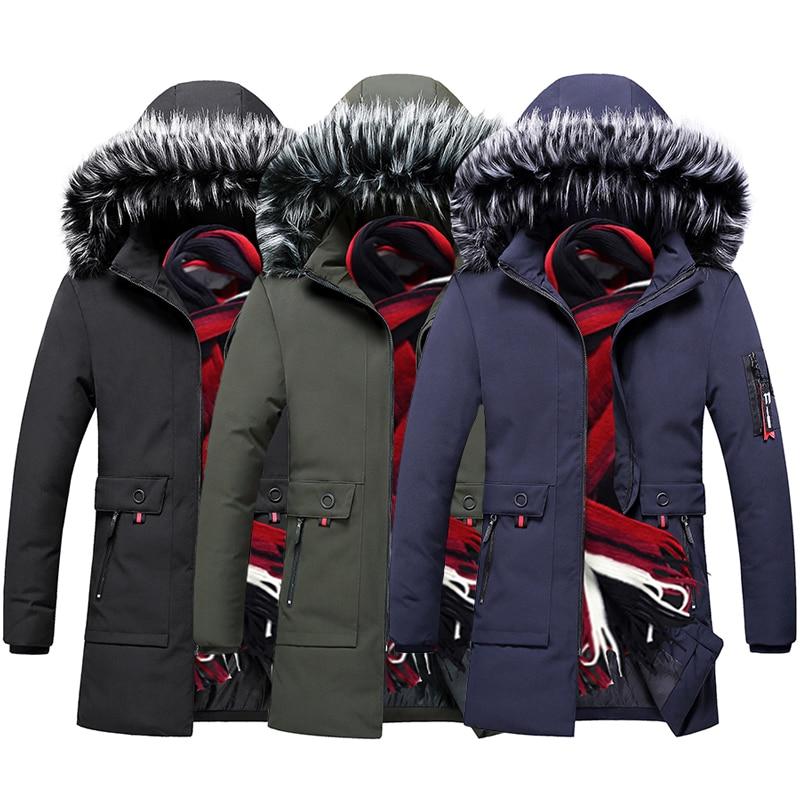 British Fashion Winter Jackets Men Fur Collar Hooded Coats Casual Outwear Thick Warm   Parka   Men Trench Windbreaker Long Jacket