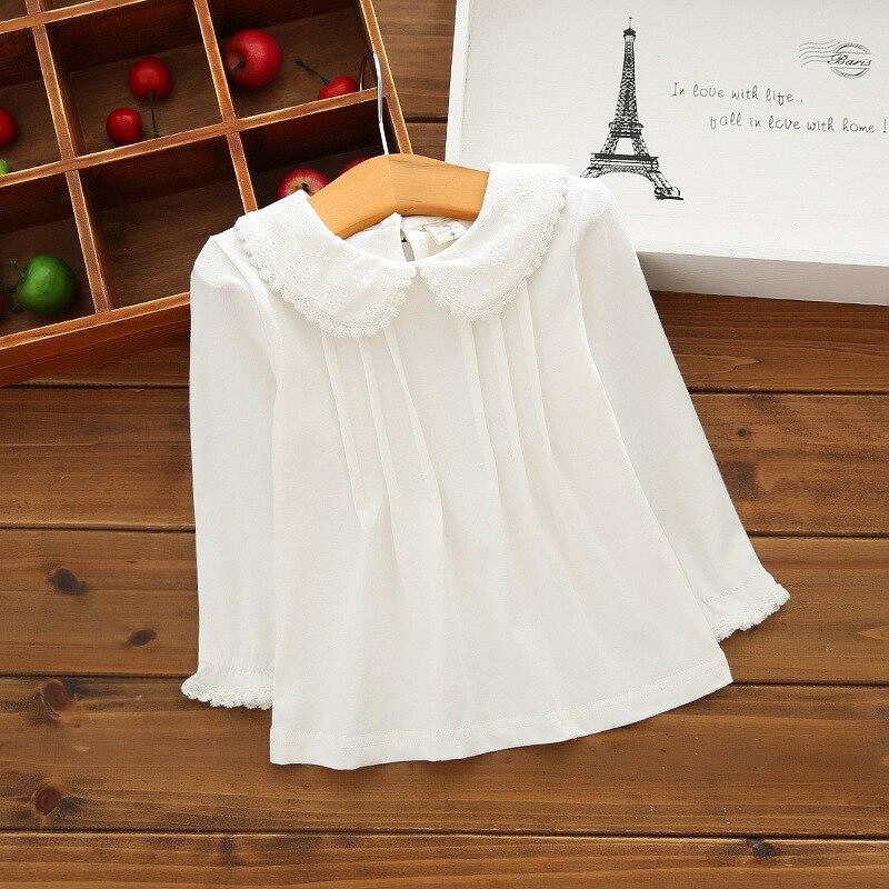 Girls T-Shirts Tops Pan-Collar Long-Sleeve Fall Peter Toddler Kids Basic Cotton White