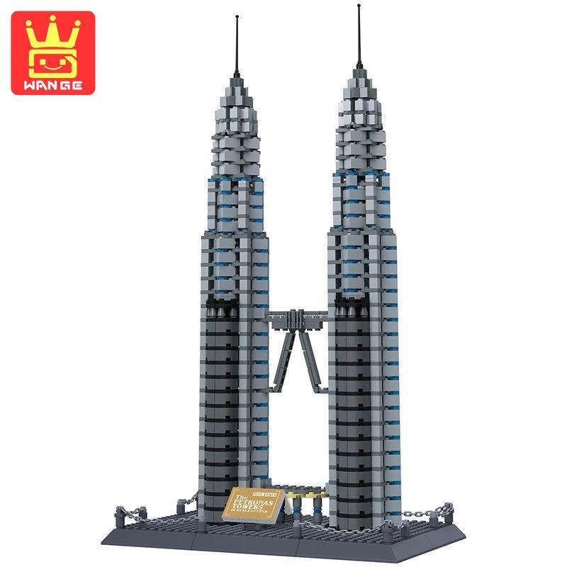 WANGE Petronas Twin Towers Kuala Lumpur 1160Pcs Large Building Block Bricks Model Educational Toys Creative For Children Gift berlitz kuala lumpur pocket guide