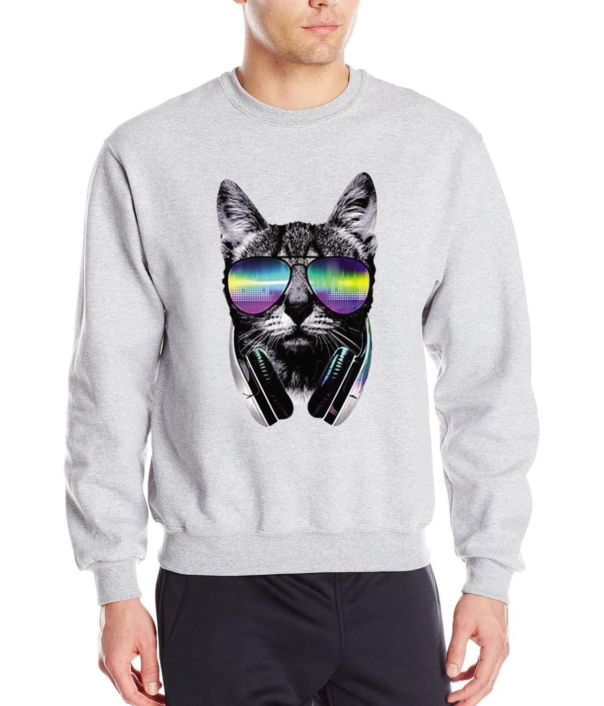Animal Music DJ Cat Men Hoodies 2017 Spring Winter Fleece 3D Printed Anime Sweatshirt Funny Creative Hoodie Casual Tracksuit Men