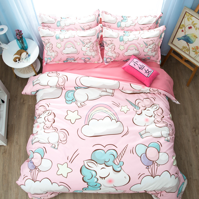 high quality unicorn Bedding Set Cartoon for kids room duvet cover sets Pillowcase bed quilt cover nordic style decoration 6z (29)