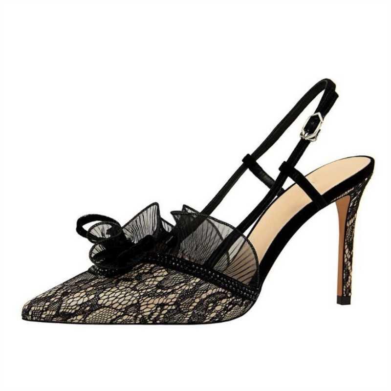 D Henlu Sexy Mesh Shoes Heel Women Shoes Mules High Heels Shoes Woman  Party Slingback 454abfa67b5f