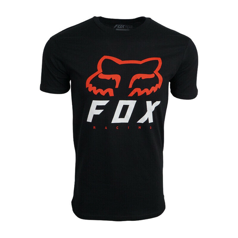 FOX RACING MENS BLACK WITH RED WHITE LOGO   T     SHIRT