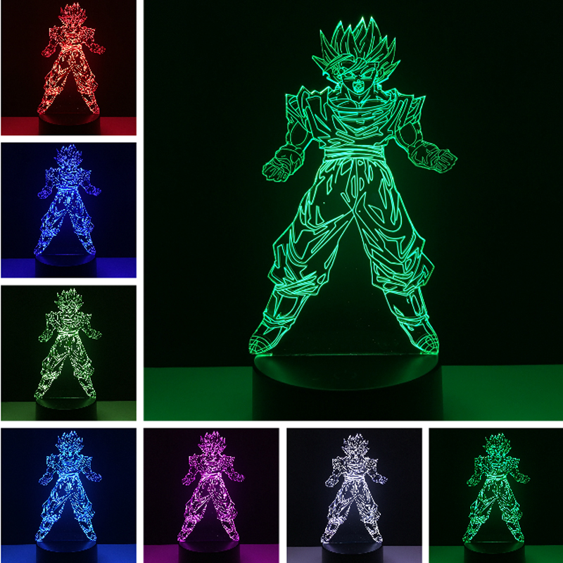 Hot 2018 japan Character Boy gift RC Toy Super Dragon Ball Son Goku Strength Bombs 3D Table Lamp LED Night Light Lamp Xmas Gifts