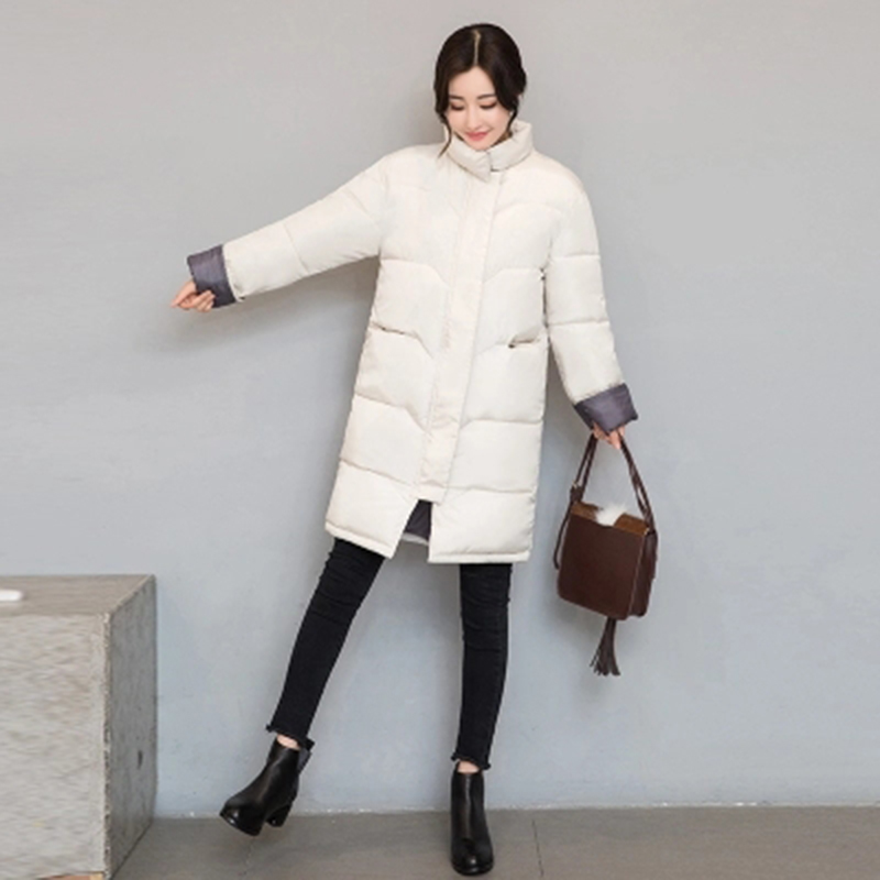 YAGENZ 2017 Cotton women winter new students  the long section of cotton clothes  thin cotton jacket clothing tide sky blue cloud removable hat in the long section of cotton clothing 2017 winter new woman