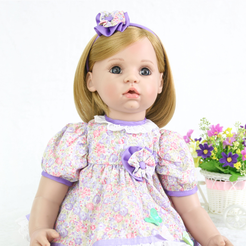 Bebe Reborn Doll 24inch big size Silicone Girl Cute Toy Reborn Baby Doll in Purple Princess skirt toy Gift for Child play house Bebe Reborn Doll 24inch big size Silicone Girl Cute Toy Reborn Baby Doll in Purple Princess skirt toy Gift for Child play house