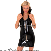 Black Sexy Sleeveless Latex Dress With Hoodies Rubber Bodycon Playsuit Plus Size LYQ 0083