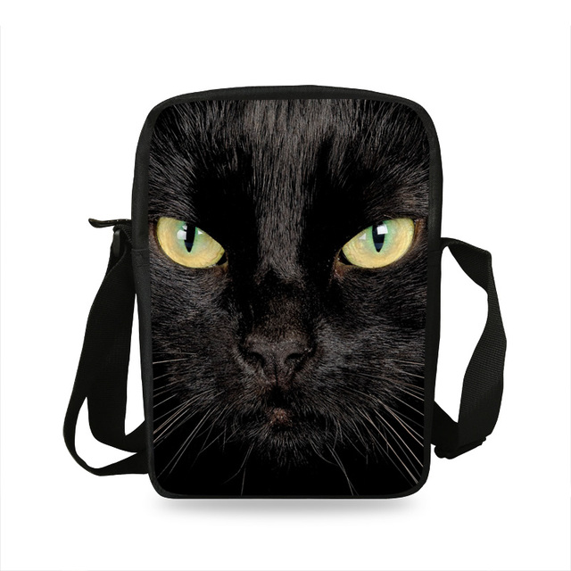 2017 New Style Kids Mini Animal Shoulder Messenger Bags Black Cat Head Shoulder  Bags For Children Boys Girls school bags