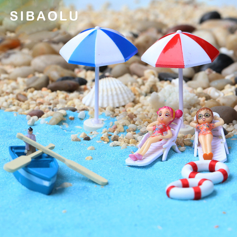 Summer Beach Chair Model Lounger Miniature Figurine Cake Decoration Doll Fairy Garden Resin Craft Home Gift DIY Accessories