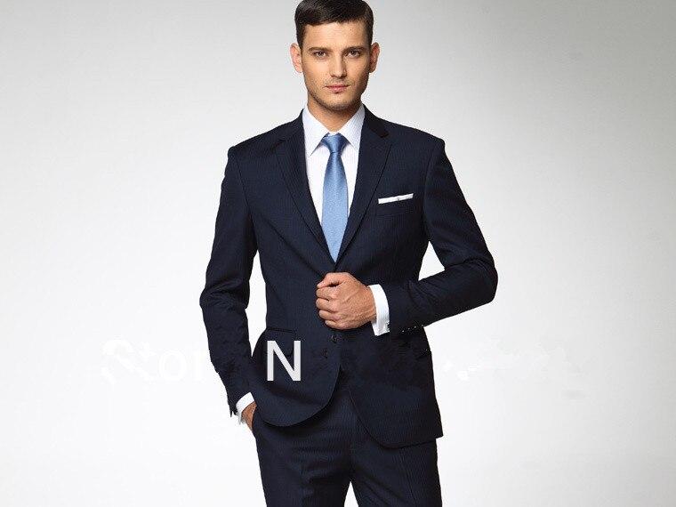 Hommes costumes Slim Fit costume sur mesure personnalisé Made travail  manuel bleu marine laine d\u0027affaires costumes livraison gratuite dans  Costumes de